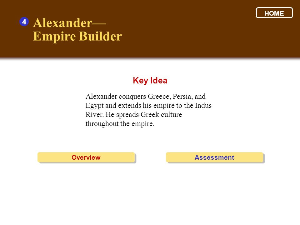 Alexander— Empire Builder Key Idea 4