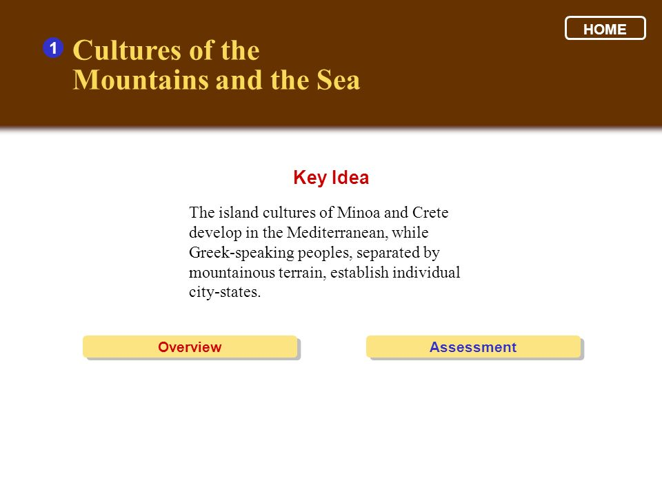 Cultures of the Mountains and the Sea Key Idea 1