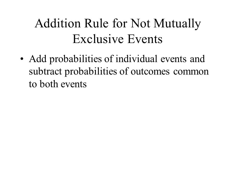 Addition Rule for Not Mutually Exclusive Events