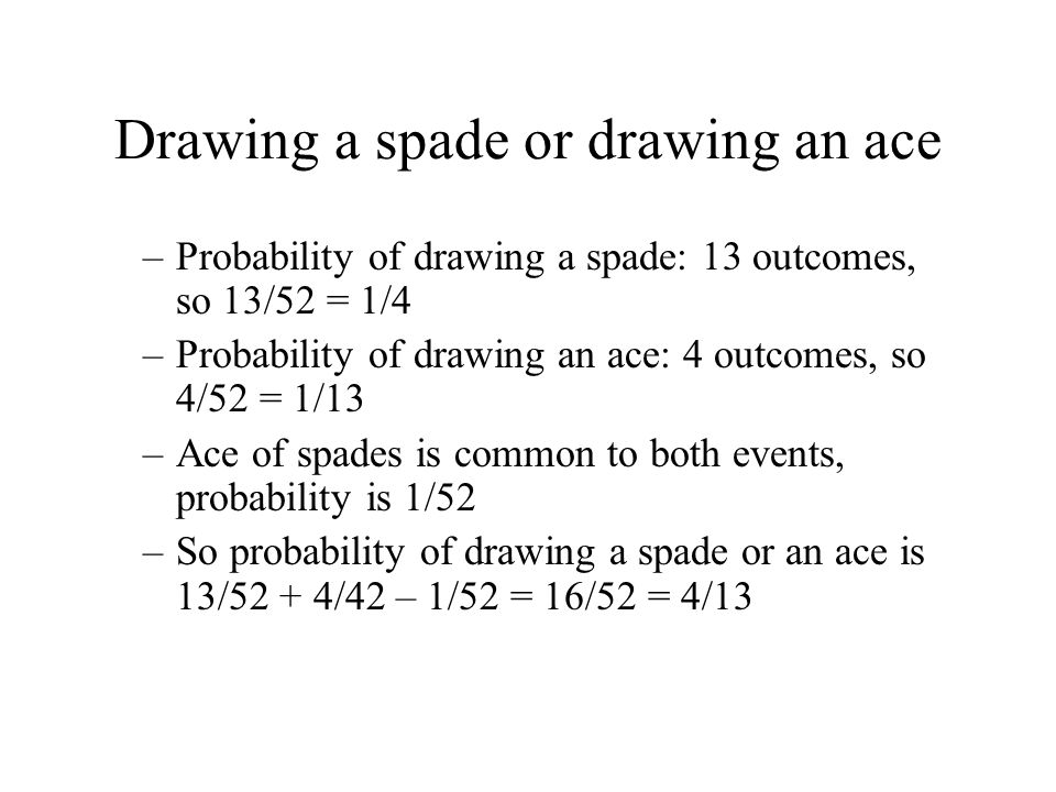 Drawing a spade or drawing an ace