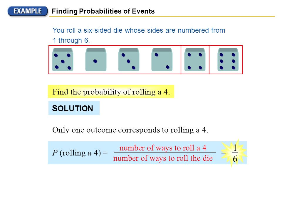1 6 Find the probability of rolling a 4. SOLUTION