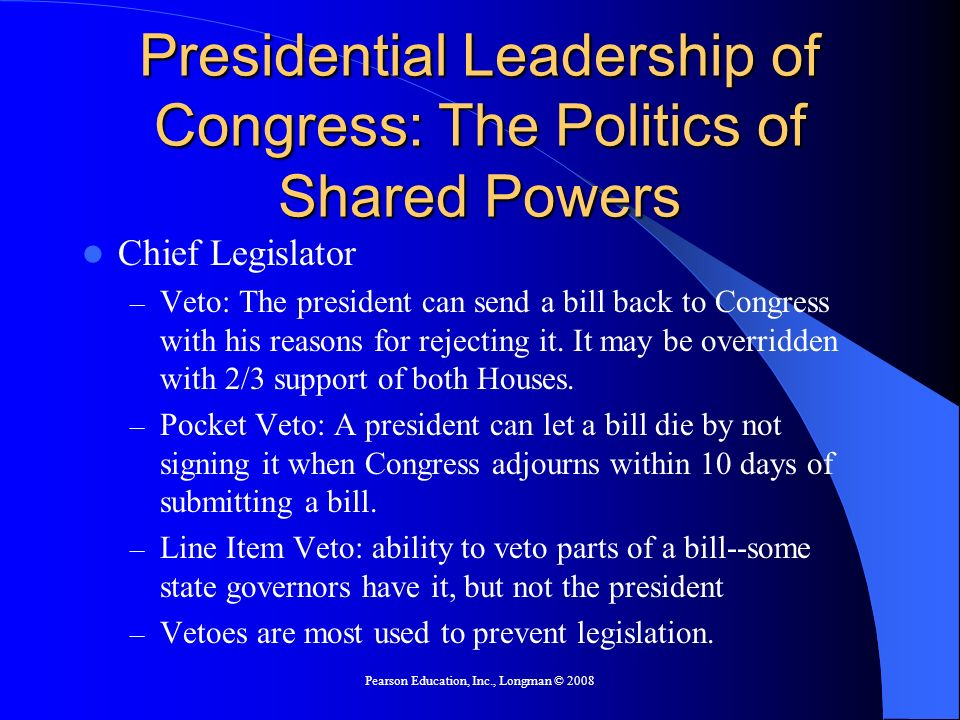 Presidential Leadership of Congress: The Politics of Shared Powers