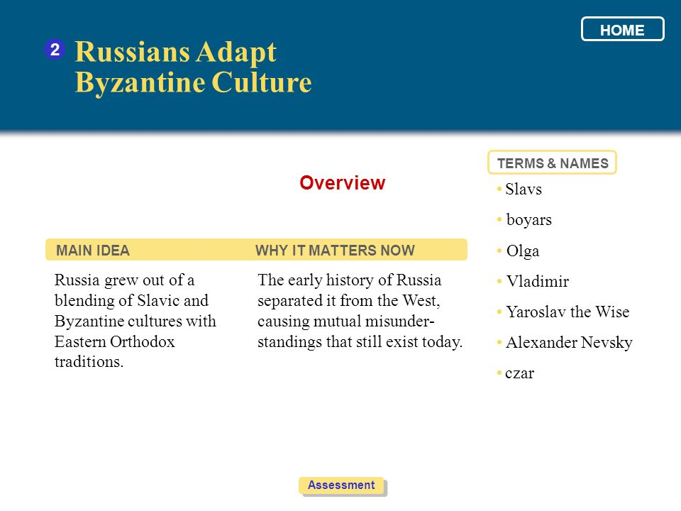 Russians Adapt Byzantine Culture Overview 2 • Slavs • boyars • Olga