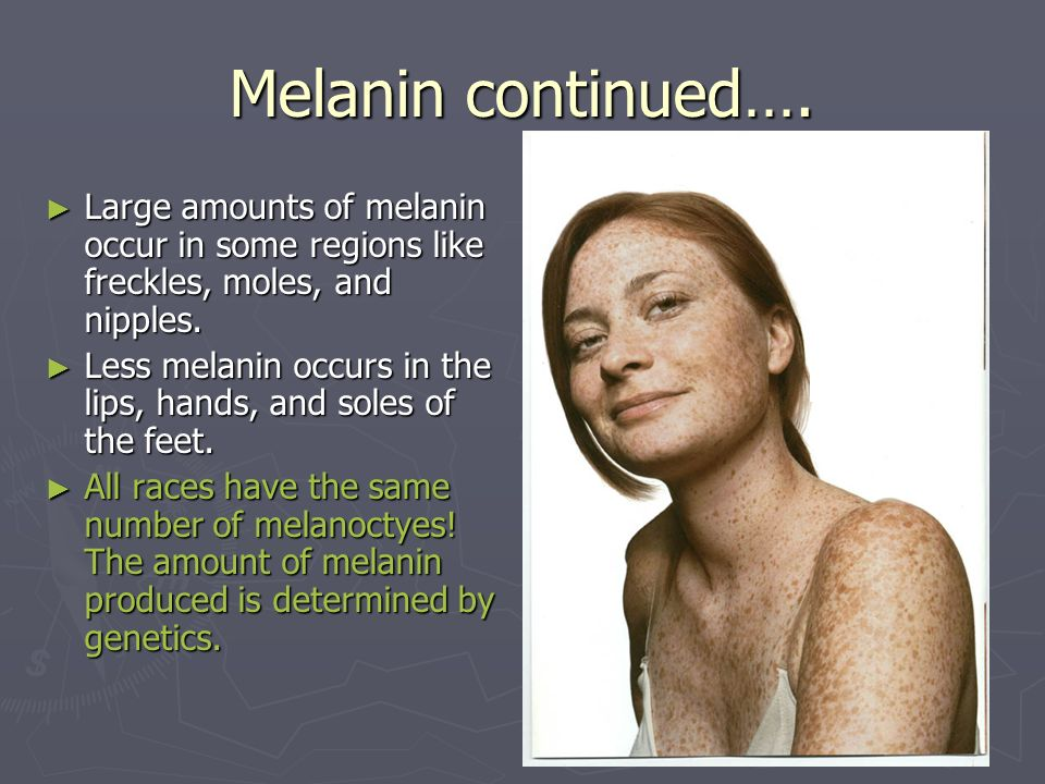 Melanin continued…. Large amounts of melanin occur in some regions like freckles, moles, and nipples.