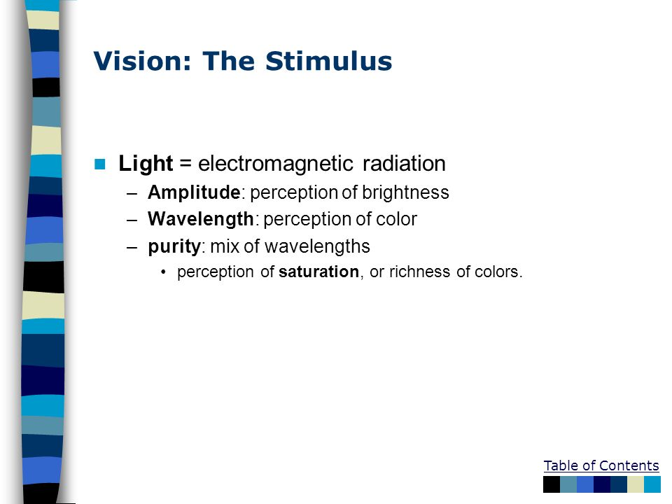 Vision: The Stimulus Light = electromagnetic radiation