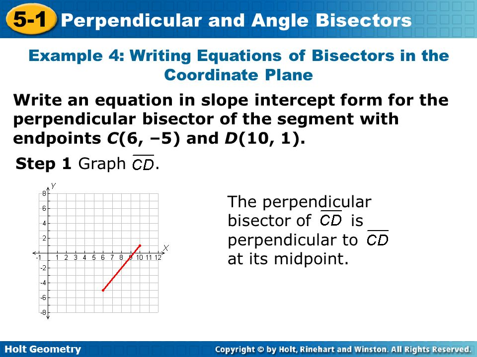 Example 4: Writing Equations of Bisectors in the Coordinate Plane