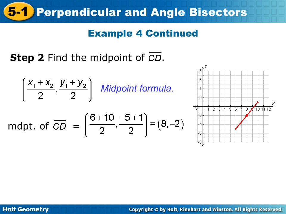 Example 4 Continued Step 2 Find the midpoint of . Midpoint formula. mdpt. of =