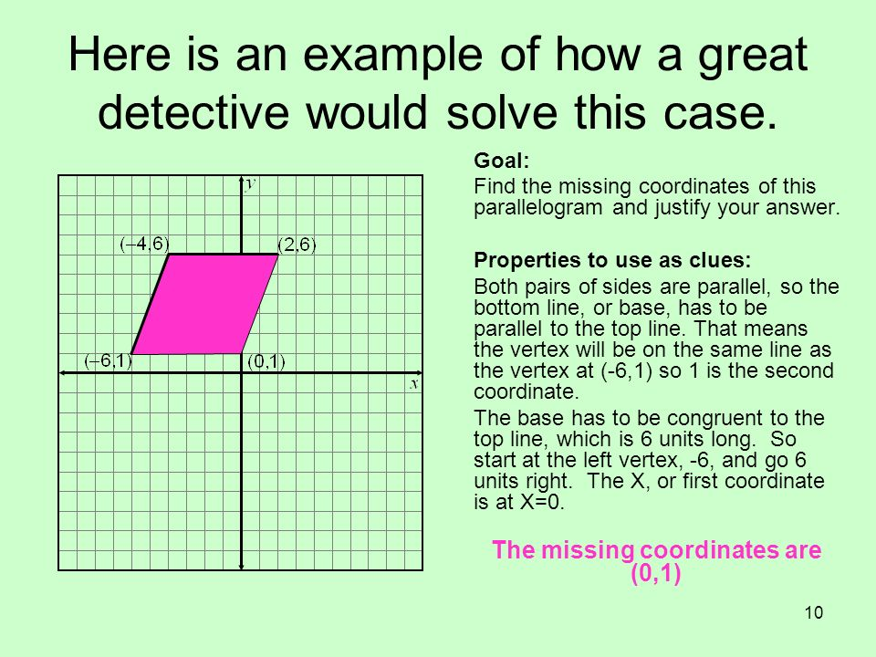 Here is an example of how a great detective would solve this case.