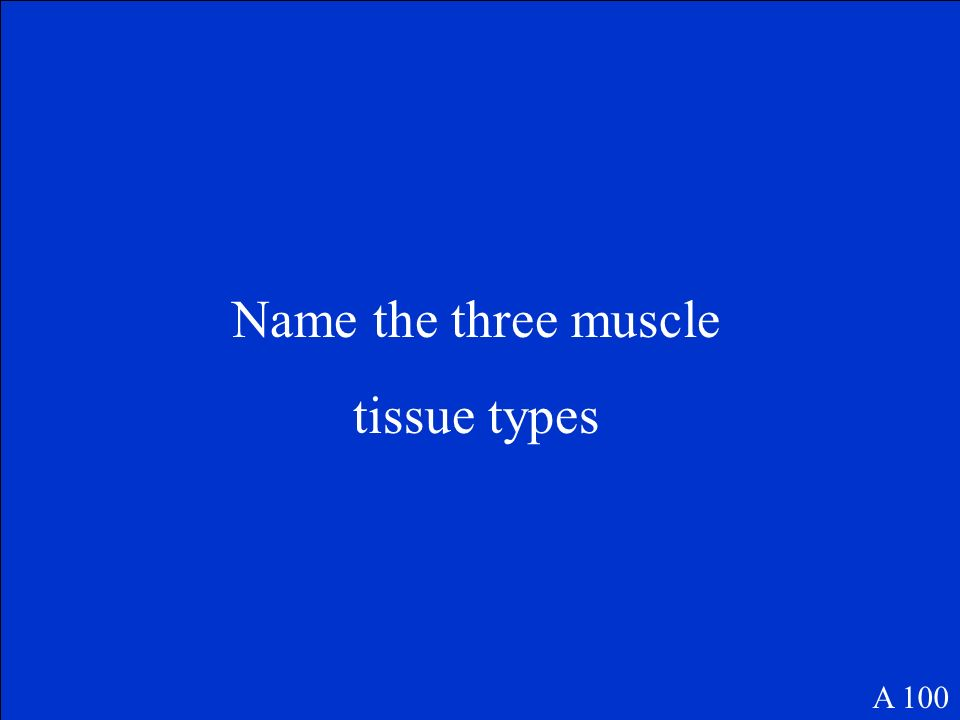 Name the three muscle tissue types A 100