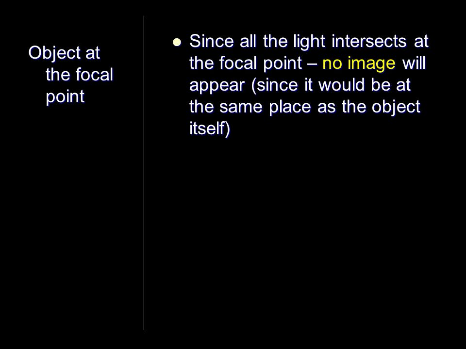 Since all the light intersects at the focal point – no image will appear (since it would be at the same place as the object itself)