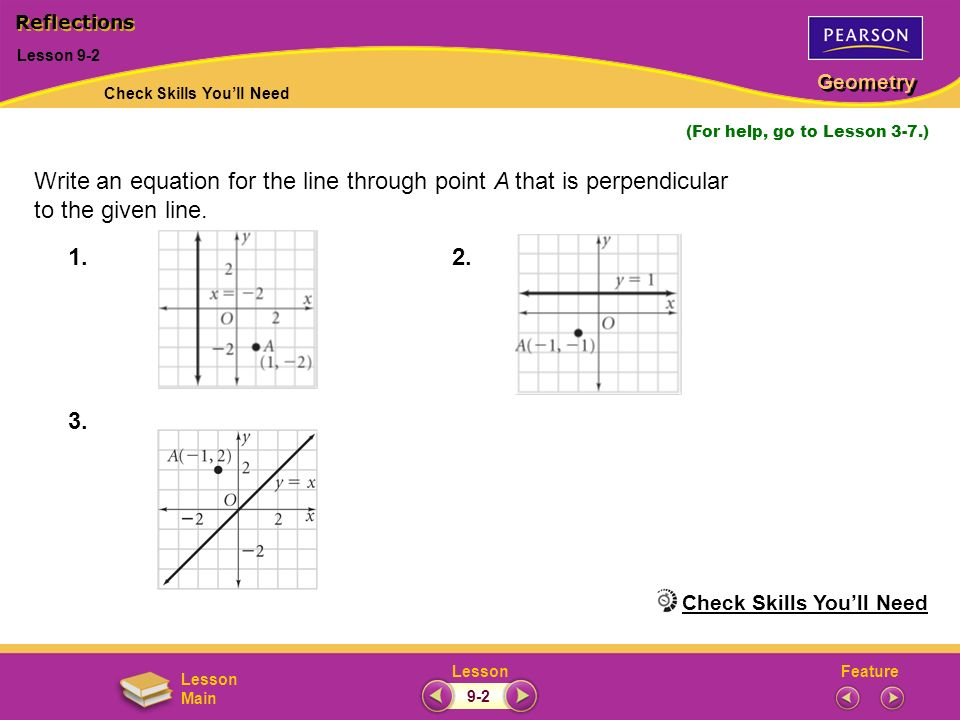 Write an equation for the line through point A that is perpendicular