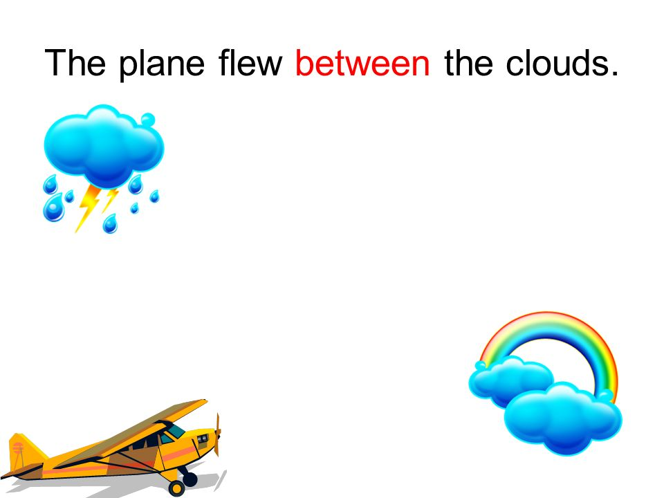 The plane flew between the clouds.