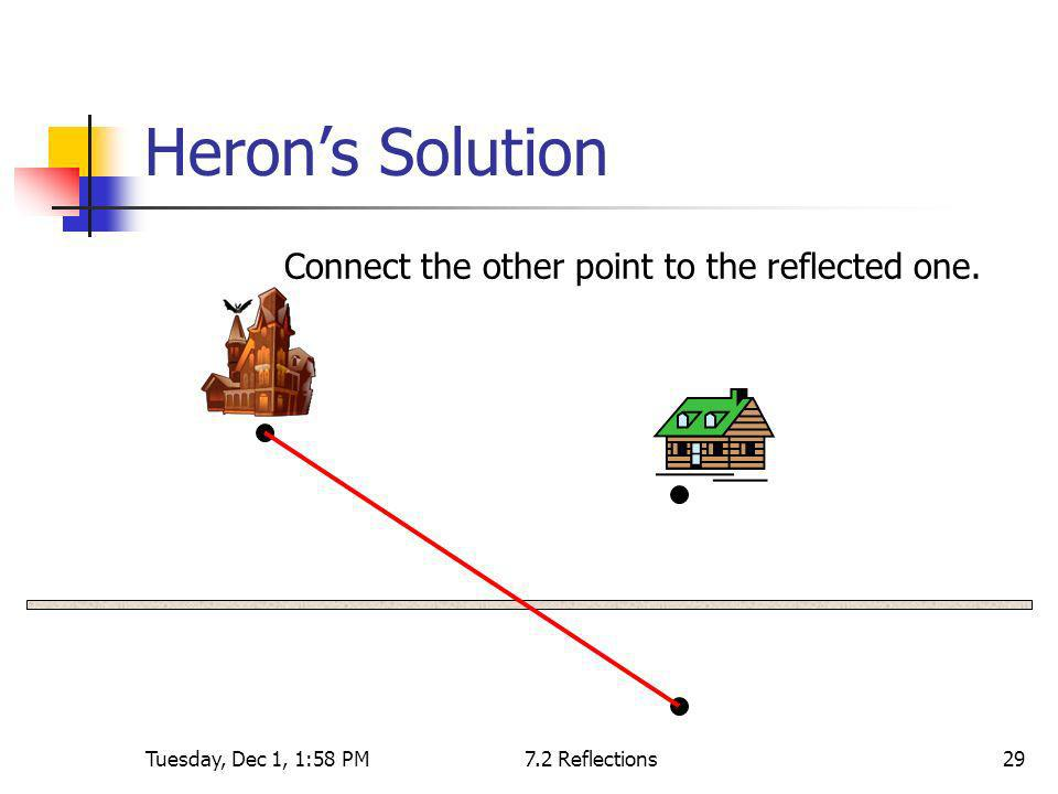 Heron's Solution Connect the other point to the reflected one.