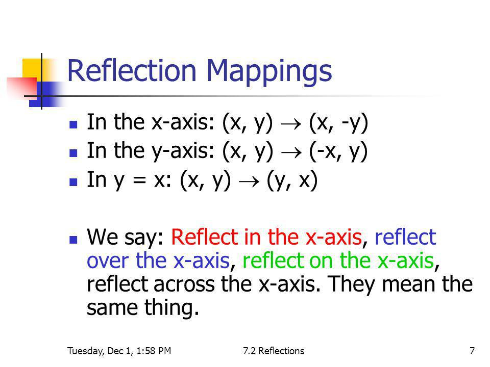 Reflection Mappings In the x-axis: (x, y)  (x, -y)