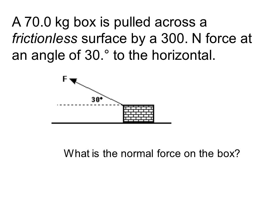 A 70. 0 kg box is pulled across a frictionless surface by a 300