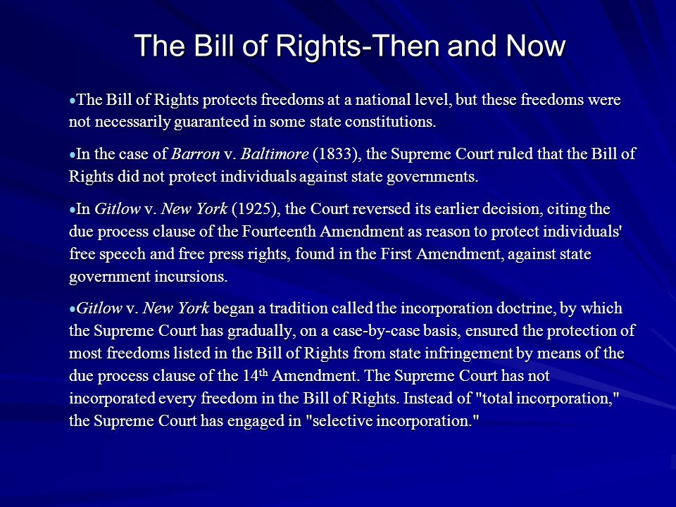 The Bill of Rights-Then and Now