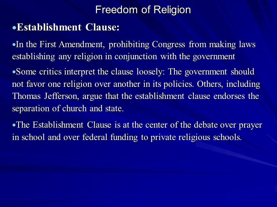Establishment Clause: