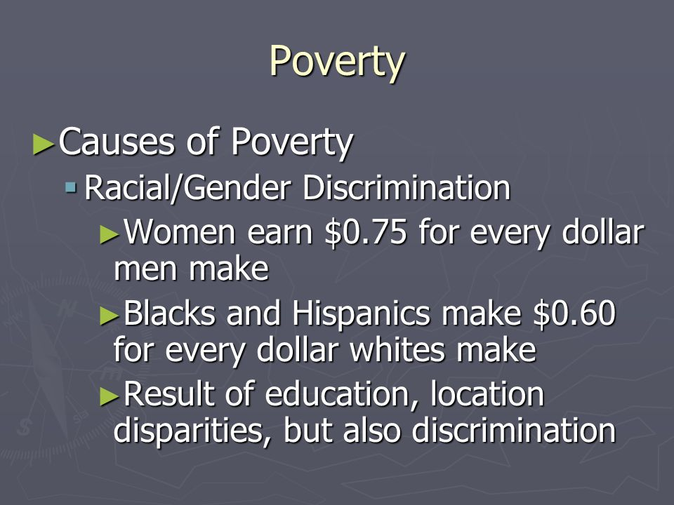 Poverty Causes of Poverty Racial/Gender Discrimination