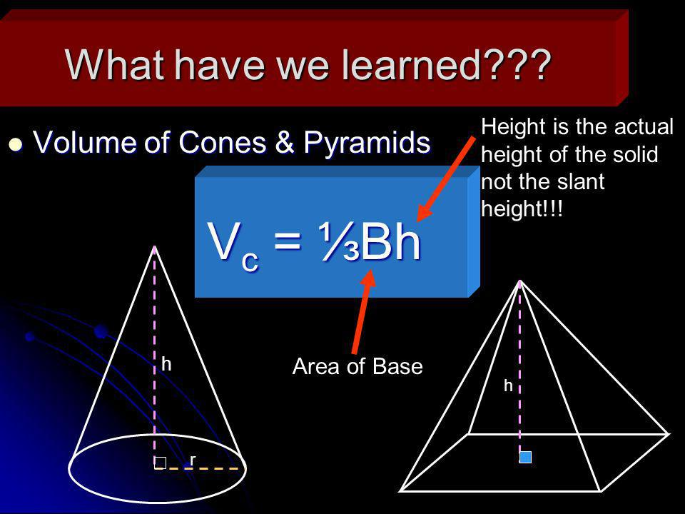 Vc = ⅓Bh What have we learned Volume of Cones & Pyramids