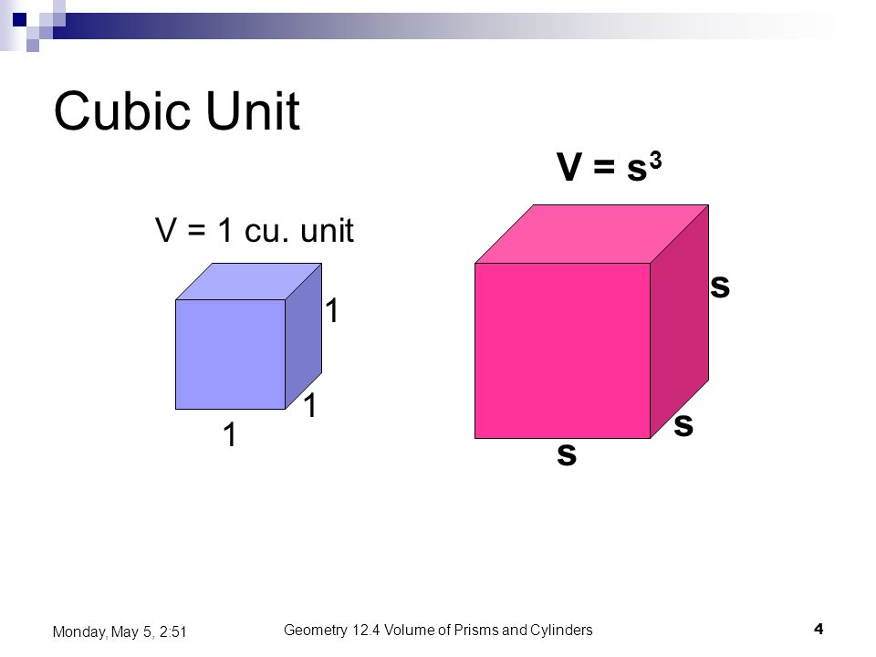 Geometry 12.4 Volume of Prisms and Cylinders