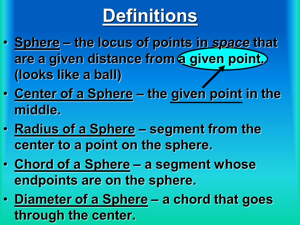 Definitions Sphere – the locus of points in space that are a given distance from a given point. (looks like a ball)