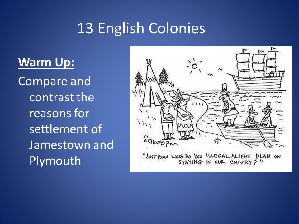 13 English Colonies Warm Up: