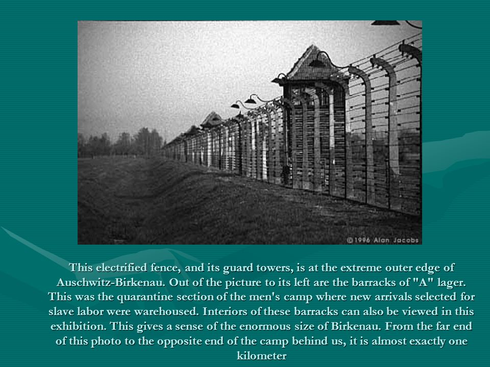 This electrified fence, and its guard towers, is at the extreme outer edge of Auschwitz-Birkenau.