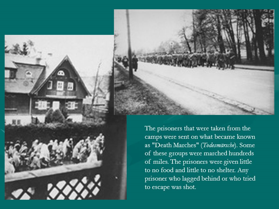 The prisoners that were taken from the camps were sent on what became known as Death Marches (Todesmärsche).