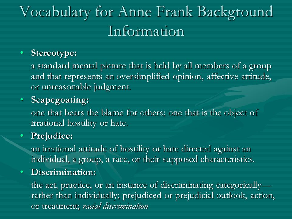 Vocabulary for Anne Frank Background Information