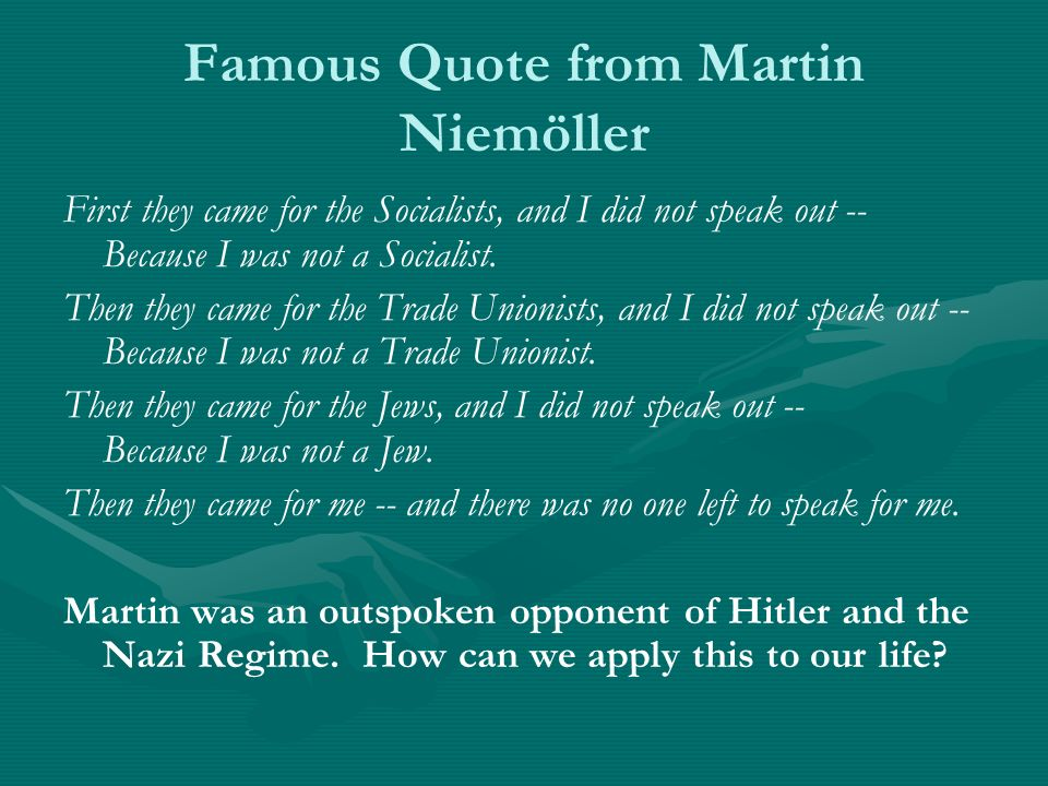 Famous Quote from Martin Niemöller