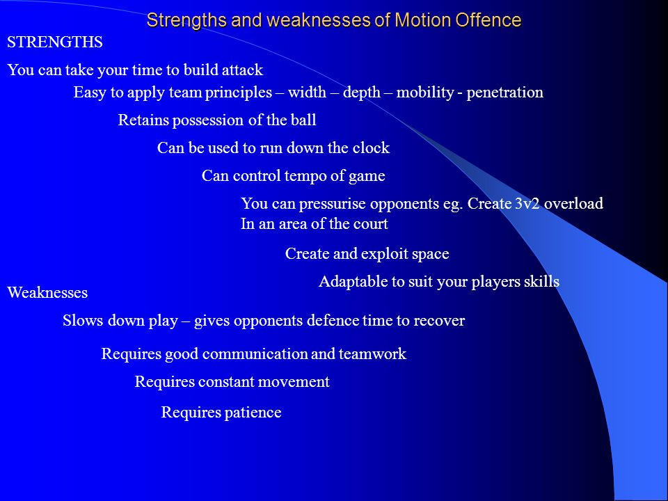 Strengths and weaknesses of Motion Offence