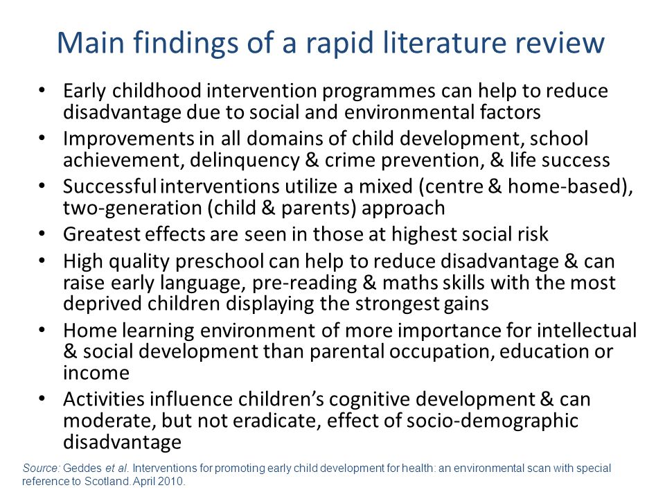 Main findings of a rapid literature review