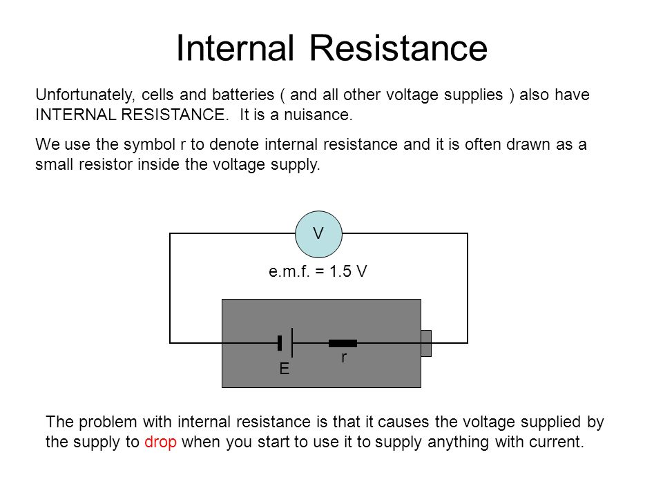 Internal Resistance Unfortunately, cells and batteries ( and all other voltage supplies ) also have INTERNAL RESISTANCE. It is a nuisance.