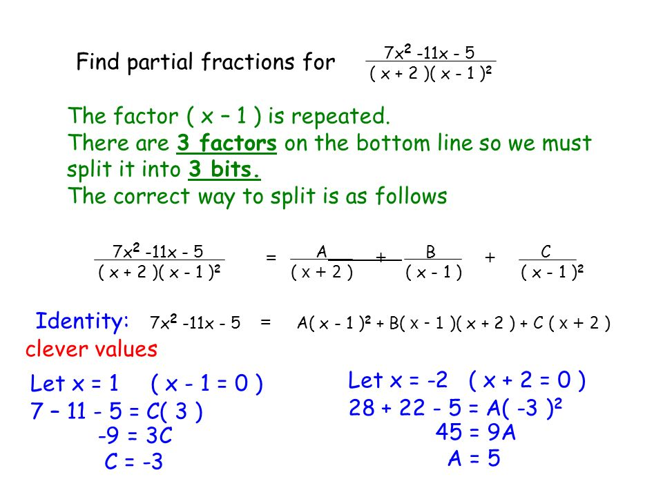 Find partial fractions for