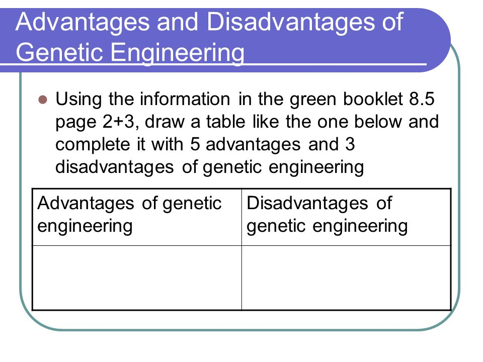 disadvantages of genetic engineering