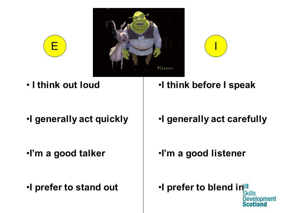E I I think out loud I generally act quickly I'm a good talker