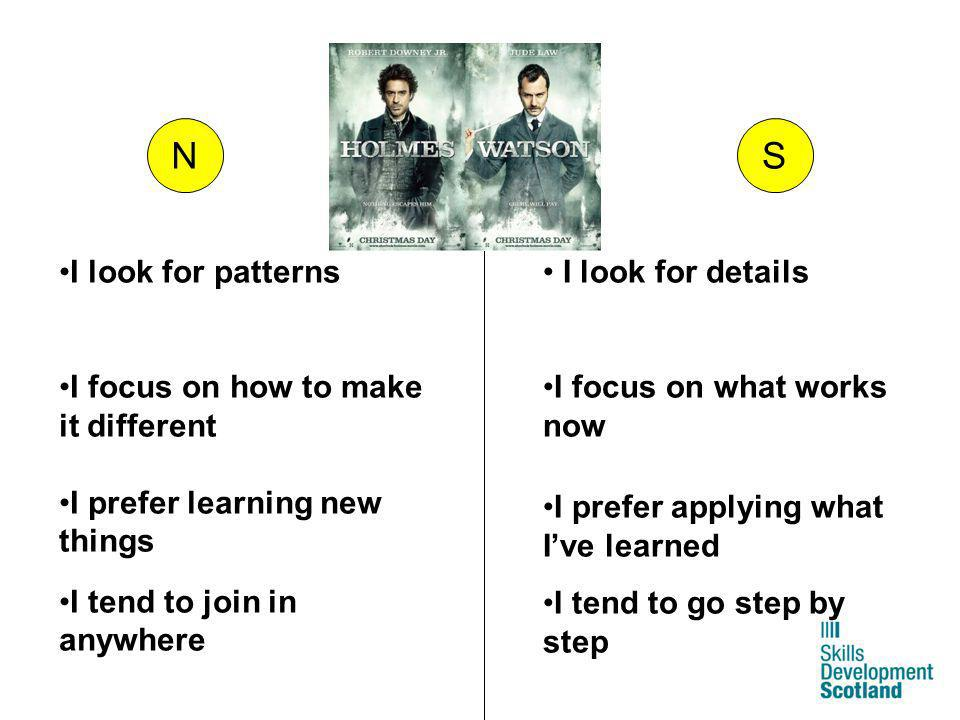 N S I look for patterns I focus on how to make it different