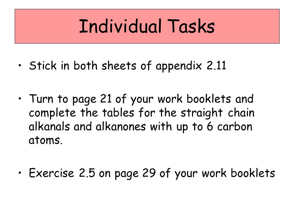 Individual Tasks Stick in both sheets of appendix 2.11