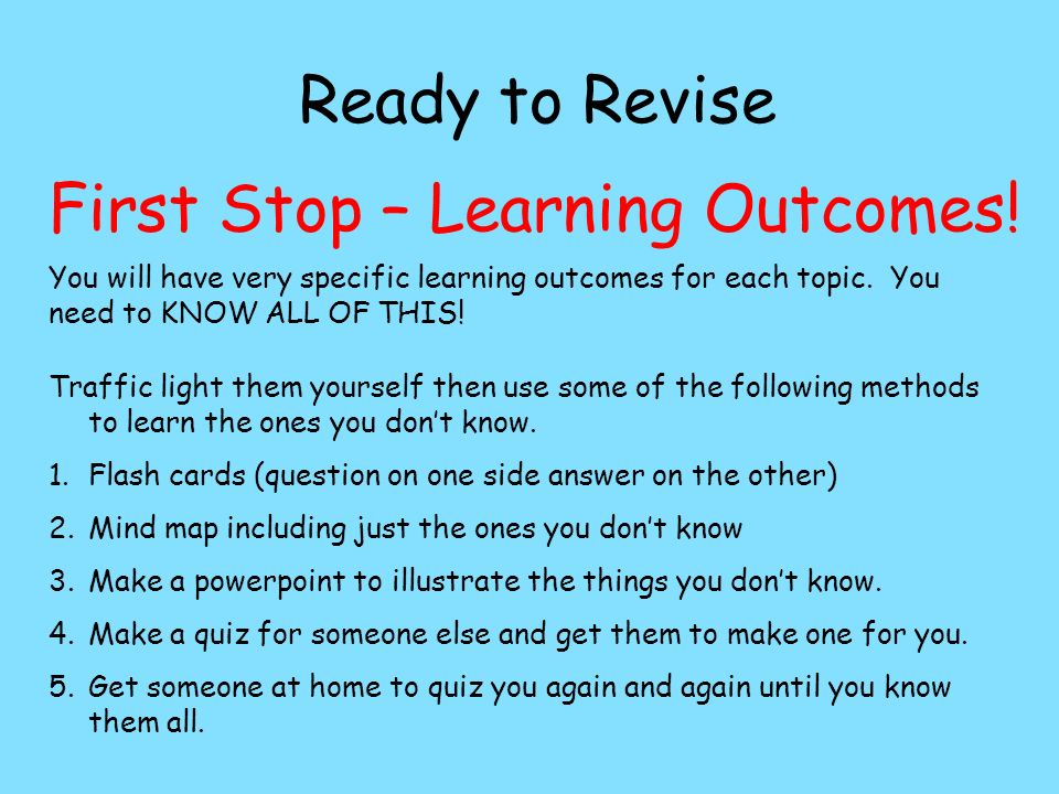 First Stop – Learning Outcomes!