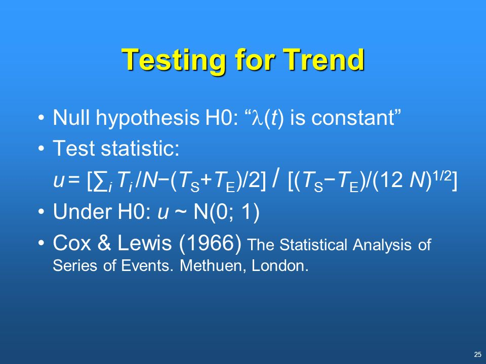 Testing for Trend Null hypothesis H0: l(t) is constant