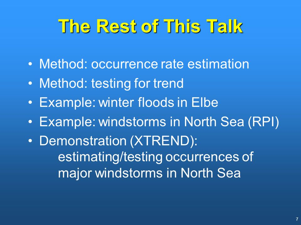 The Rest of This Talk Method: occurrence rate estimation