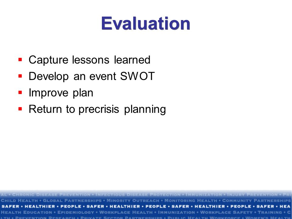 Evaluation Capture lessons learned Develop an event SWOT Improve plan