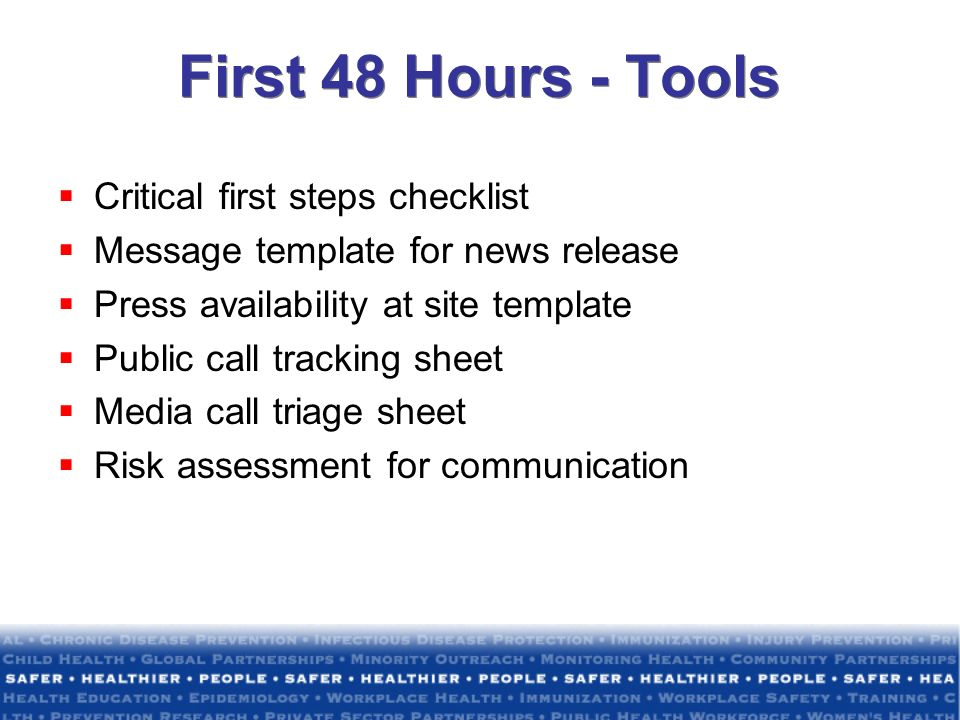 First 48 Hours - Tools Critical first steps checklist