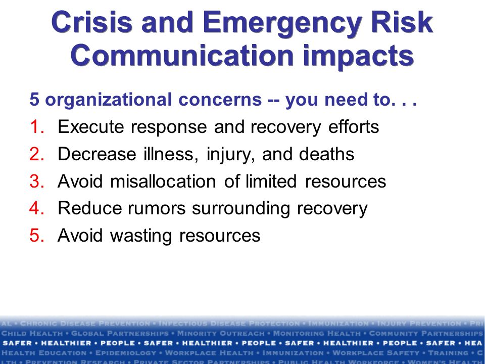 Crisis and Emergency Risk Communication impacts