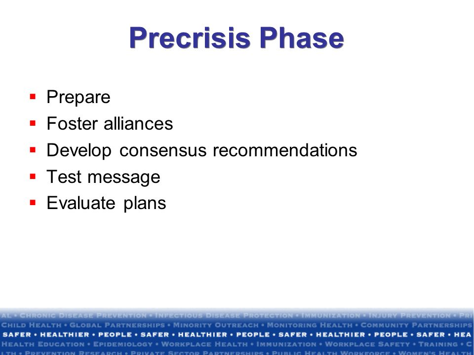 Precrisis Phase Prepare Foster alliances