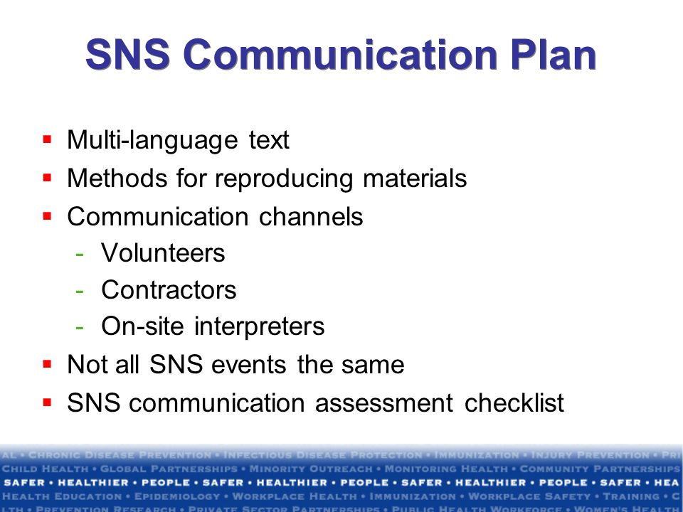 SNS Communication Plan