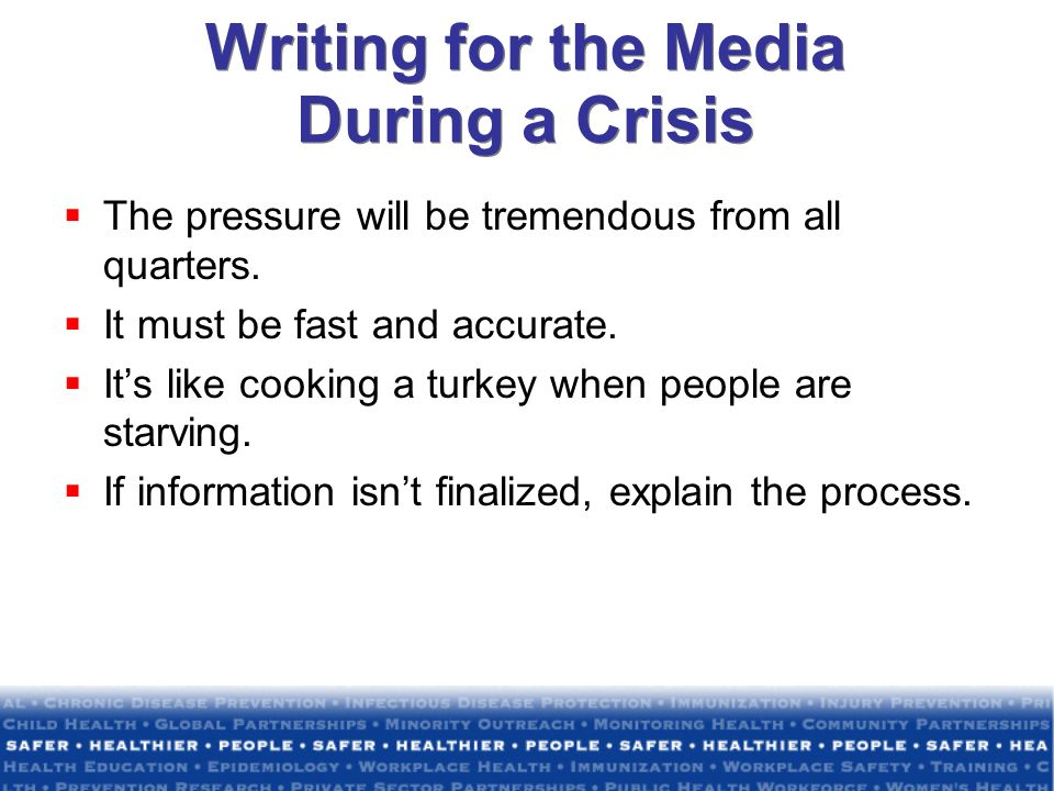 Writing for the Media During a Crisis