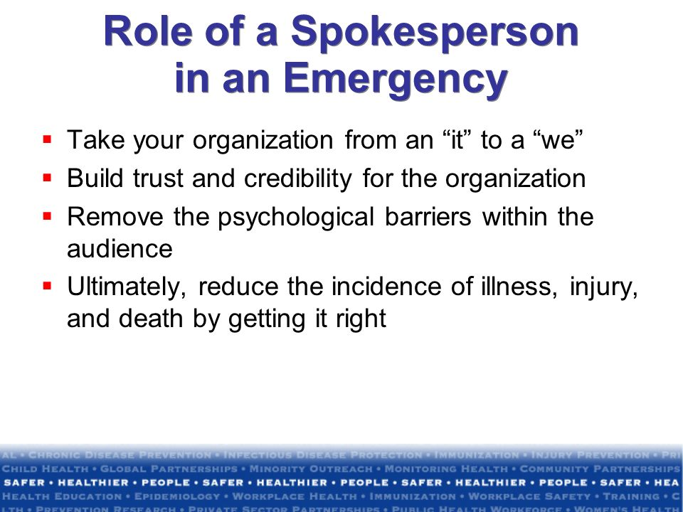 Role of a Spokesperson in an Emergency