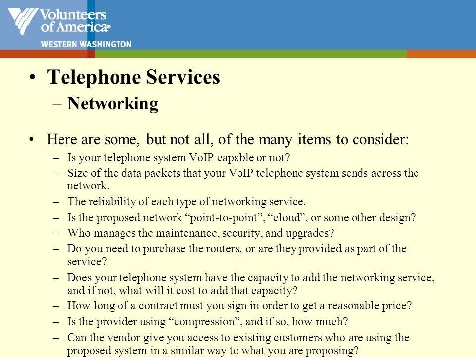 Telephone Services Networking