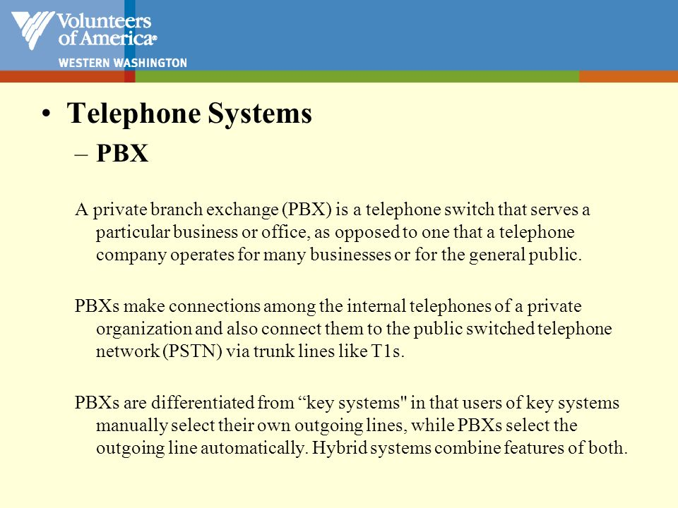 Telephone Systems PBX.